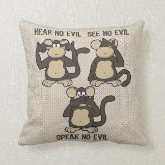 No oiga ningún dibujo animado de los monos del mal almohada