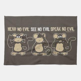 No oiga ningún humor malvado de los monos toalla de mano