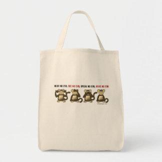 No oiga ningún mal no tener ningún bolso de la div bolsa tela para la compra