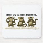 No oiga ningún mono del mal alfombrilla de ratones