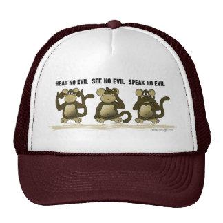 No oiga ningún mono del mal gorras de camionero