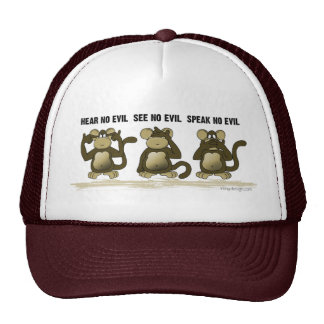 No oiga ningún mono del mal gorros bordados