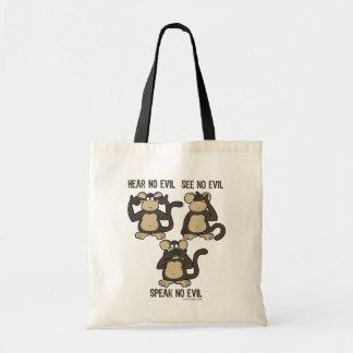 No oiga ningún mono del mal - nuevo bolsa tela barata