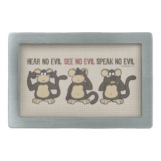 No oiga ningún mono del mal - nuevo hebilla cinturón rectangular