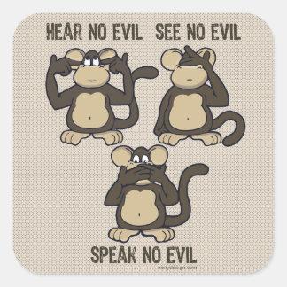 No oiga ningún mono del mal - nuevo pegatina cuadrada