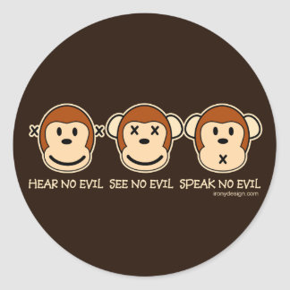 No oiga ningún mono del mal pegatina redonda