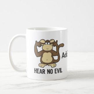 No oiga ningún mono del mal - personalizar taza básica blanca