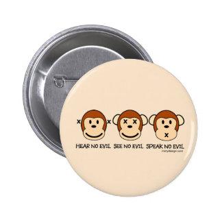 No oiga ningún mono del mal pin redondo 5 cm