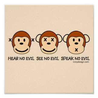 No oiga ningún mono del mal póster