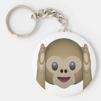 No oiga ningún mono malvado Emoji Llavero Redondo Tipo Pin
