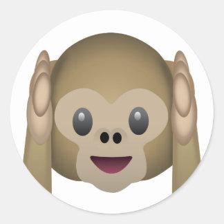 No oiga ningún mono malvado Emoji Pegatina Redonda