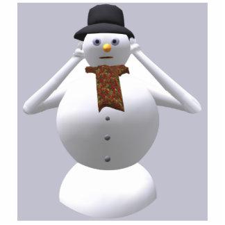 No oiga ningún navidad malvado del muñeco de nieve fotoescultura vertical