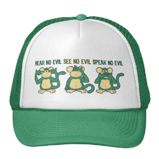 No oiga ningún verde de los monos del mal gorro de camionero