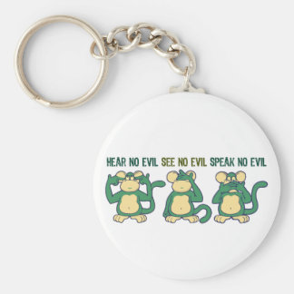 No oiga ningún verde de los monos del mal llavero redondo tipo pin