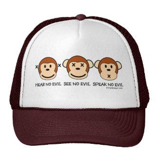No oiga ninguna cara del mono del mal gorro de camionero