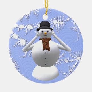 No oiga ninguna decoración malvada del árbol de adorno navideño redondo de cerámica