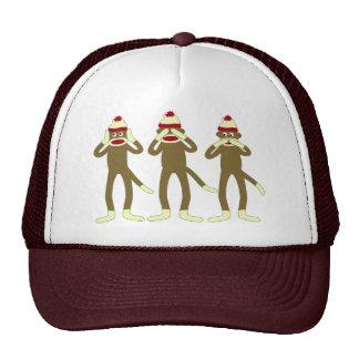 No oiga, vea, hable ningún mono del calcetín del m gorras