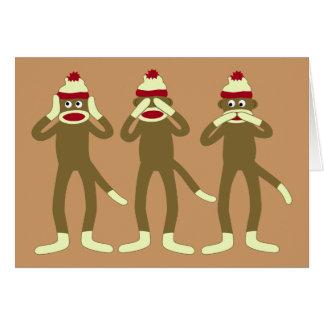 No oiga, vea, hable ningún mono del calcetín del m tarjeta de felicitación