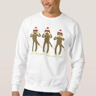 No oiga, vea, hable ningún mono del calcetín del pulover sudadera