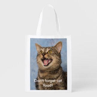No olvide el bolso de ultramarinos de la comida bolsas reutilizables