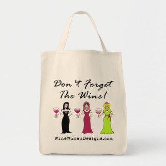 ¡No olvide el vino! Promocional Bolsa Tela Para La Compra