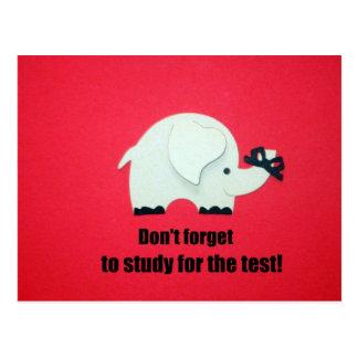 ¡No olvide, estudiar para la prueba! Tarjeta Postal