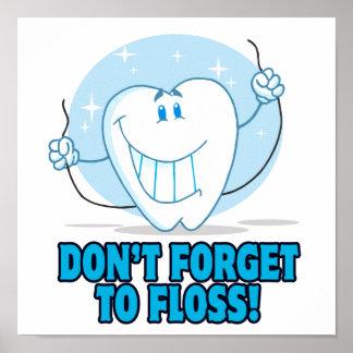 no olvide floss el diente flossing del dibujo anim posters
