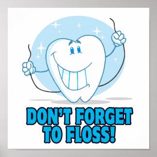 no olvide floss el diente flossing del dibujo anim póster