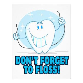 """no olvide floss el diente flossing del dibujo folleto 8.5"""" x 11"""""""