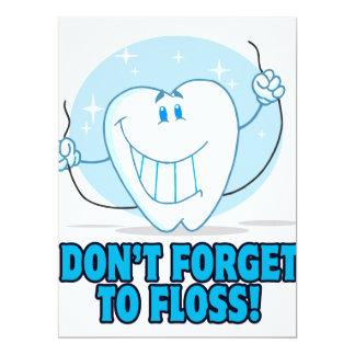 no olvide floss el diente flossing del dibujo invitación 16,5 x 22,2 cm