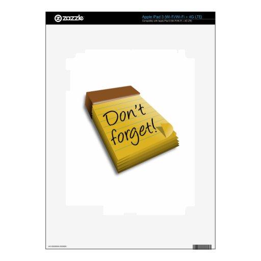 No olvide la libreta iPad 3 pegatina skin