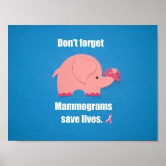 No olvide las vidas de la reserva del mamograma póster