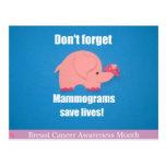 ¡No olvide, los mamogramas ahorran vidas! Postales