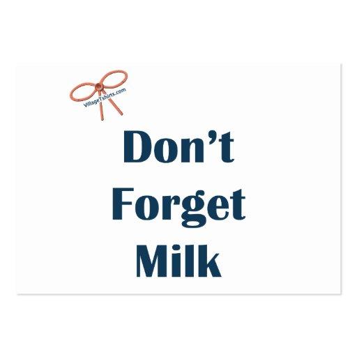 No olvide los recordatorios de la leche tarjetas de visita grandes