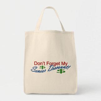 No olvide mi descuento mayor bolsa tela para la compra