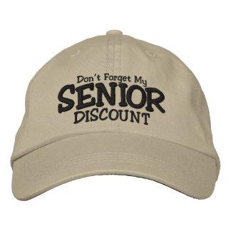 No olvide mi descuento mayor gorras bordadas