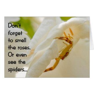 No olvide oler los rosas tarjeta de felicitación