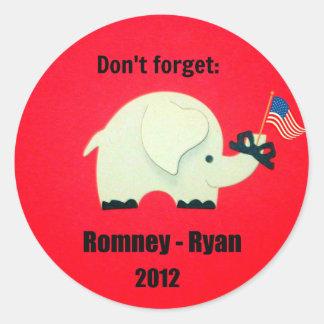 No olvide: Romney - Ryan 2012 Pegatinas Redondas
