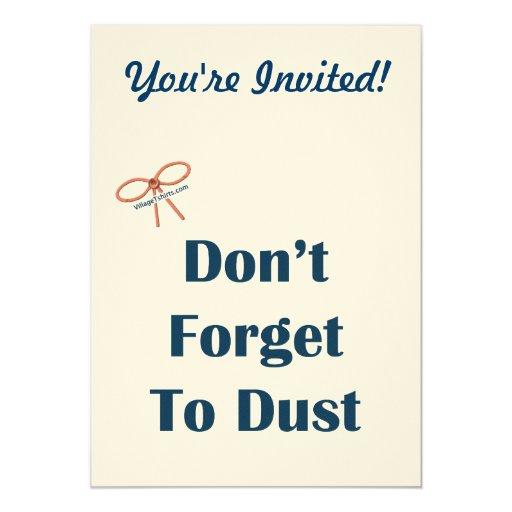 No olvide sacar el polvo de recordatorios invitación 12,7 x 17,8 cm