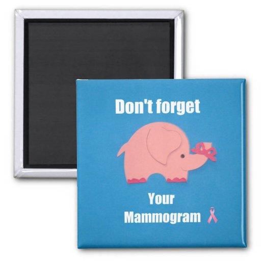 No olvide su mamograma imán cuadrado