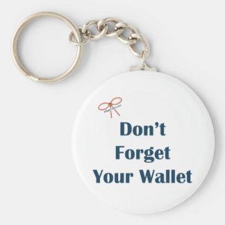 No olvide sus recordatorios de la cartera llavero redondo tipo pin