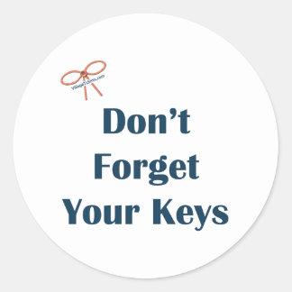 No olvide sus recordatorios de las llaves etiqueta