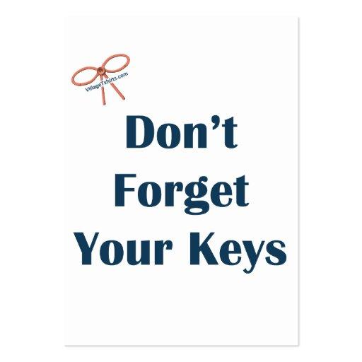 No olvide sus recordatorios de las llaves plantillas de tarjeta de negocio
