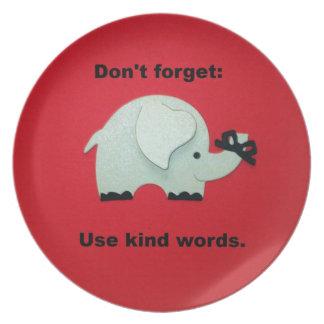 No olvide Utilice las palabras buenas Platos