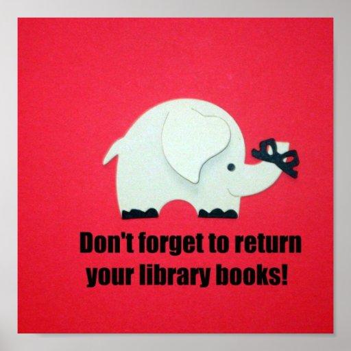¡No olvide volver sus libros de la biblioteca! Impresiones