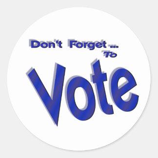 No olvide votar etiqueta redonda