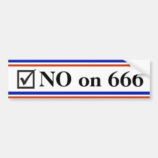 NO on 666 Car Bumper Sticker