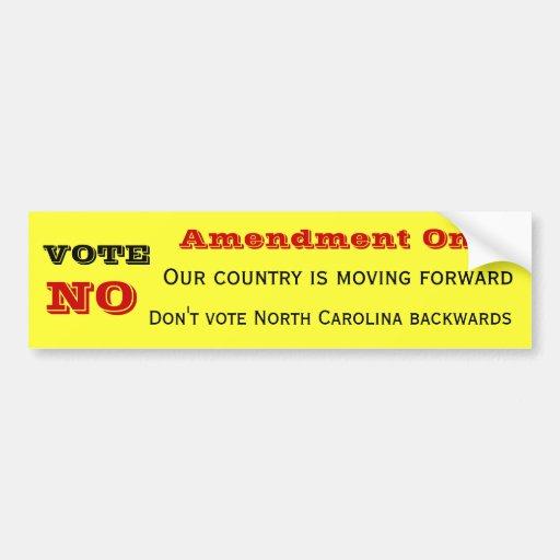 No on Amendment One Car Bumper Sticker