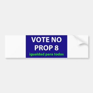 No On Prop 8- bumper sticker Spanish