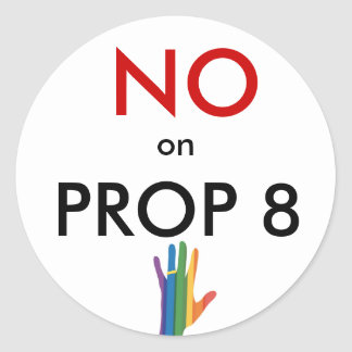 No on Prop 8 Classic Round Sticker